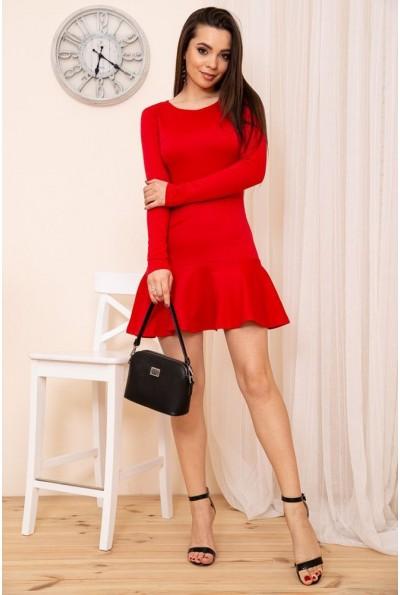 Приталенное короткое платье с оборкой цвет Красный 167R40-1 54362
