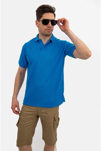 Голубое поло мужское однотонное хлопковое 141R001