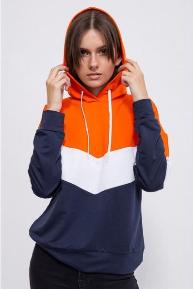 Свитшот женский 102R027 цвет Оранжево-синий