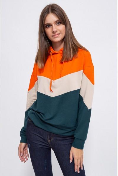 Свитшот женский 102R027 цвет Оранжево-зеленый