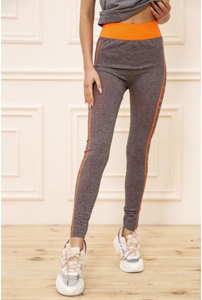 Лосины  женские для спорта  цвет серо-оранжевый 129R829S 50946