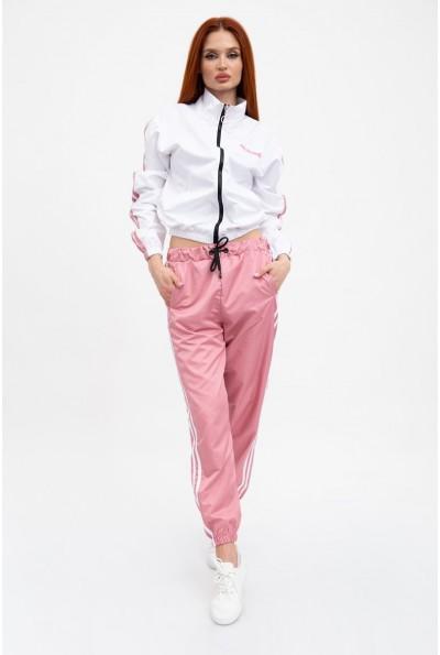 Спортивный костюм женский, белая куртка и розовые брюки 103R2029F