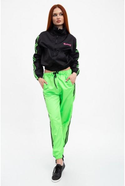 Молодежный спортивный костюм женский, черно-салатовый 103R2029F