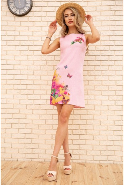 Короткое льняное платье с цветами и бабочками цвет Пудровый 172R017-1