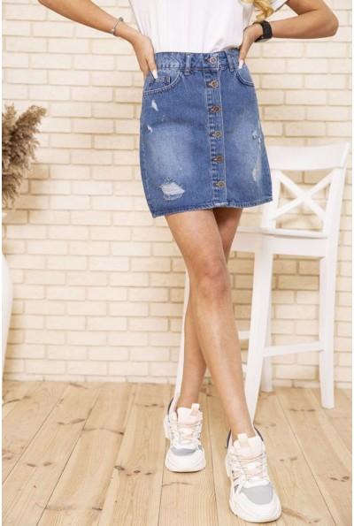 Голубая джинсовая юбка с потертостями 129R022-124 49490