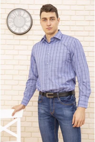 Рубашка мужская синяя, в клетку 9021-26