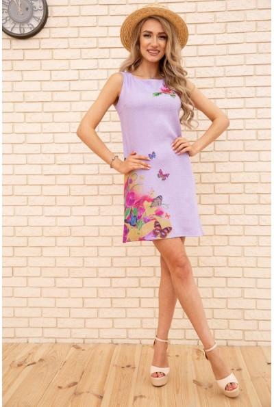 Короткое льняное платье с цветами и бабочками цвет Сиреневый 172R017-1