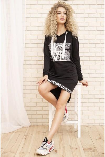 Спортивное платье туника с капюшоном цвет Черный 167R20-1