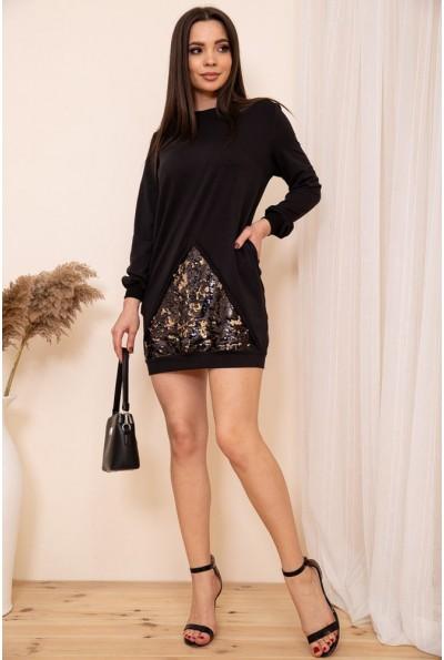 Свободное платье туника с пайетками цвет Черный 167R38-3