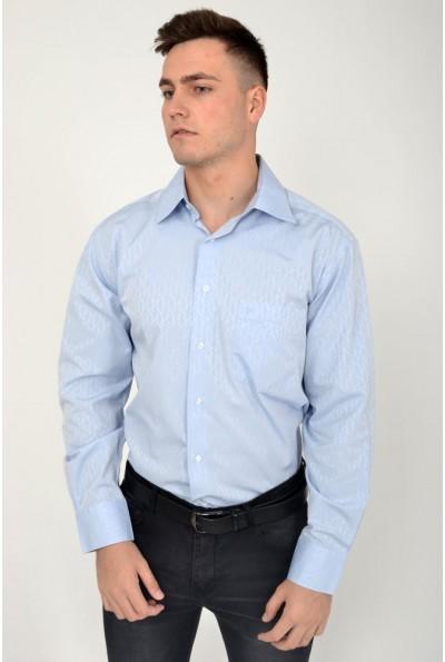 Мужская рубашка голубая с длинными рукавами 113RPass0013