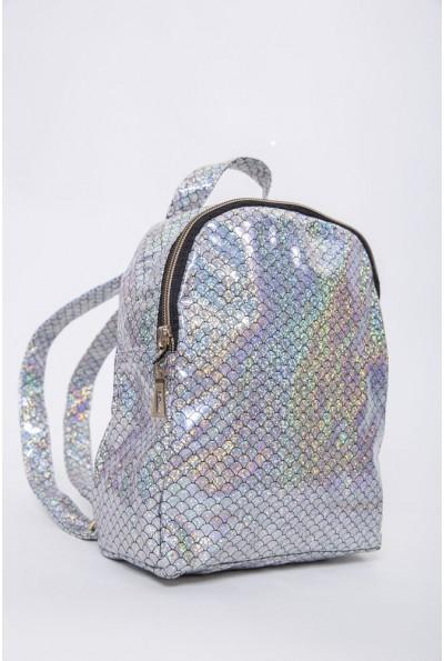 Миниатюрный рюкзак серебристого цвета женский 154R003-26-4