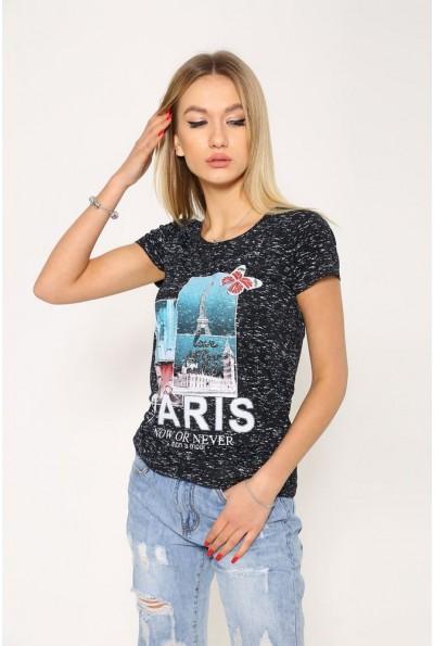 Черная женская футболка с принтом 119R035