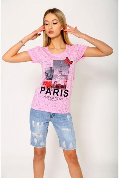 Розовая женская футболка приталенная с  фото Paris  119R035