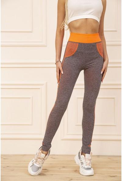 Лосины женские для спорта цвет Серо-оранжевый 129R829-8