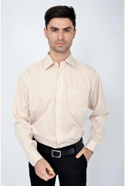 Рубашка классическая молочная с коричневой полоской 113RHAG19