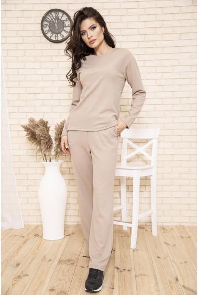 Спортивный костюм женский прогулочный однотонный цвет Бежевый 104R0035 49287