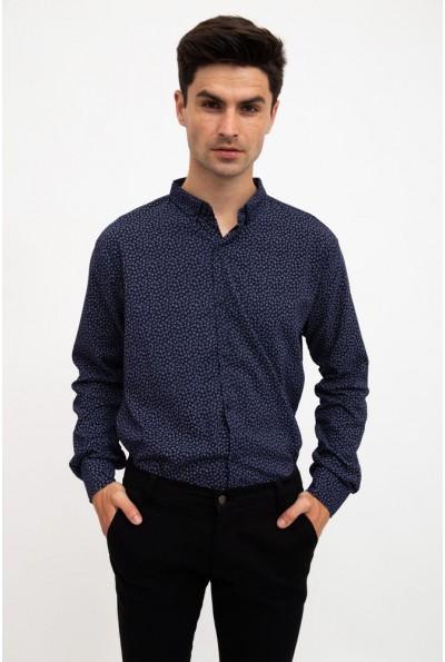 Рубашка мужская темно-синяя стильный принт 511F016