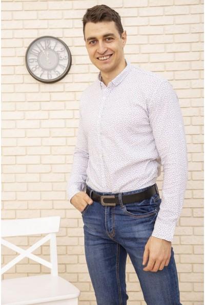 Рубашка мужская белая стильный принт 511F016 3557