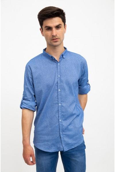 Стильная мужская рубашка голубая с принтом 511F016