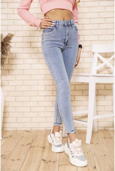 Женские голубые джинсы скинни со стразами  164R382