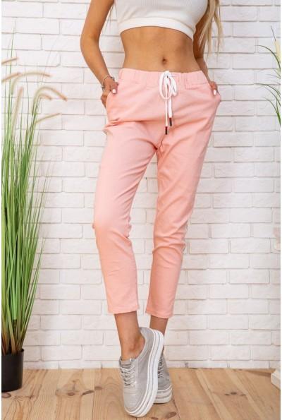 Летние хлопковые женские штаны на резинке цвет Персиковый 129R0218-5 57314