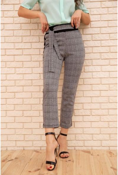 Женские укороченные брюки в клетку с лампасами цвет Серый 172R9314-3 56098