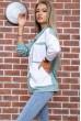 Свитшот женский  цвет оливково-белый 102R218 стоимость