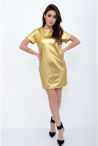 Платье-мини с коротким рукавом золотистого цвета 115R152