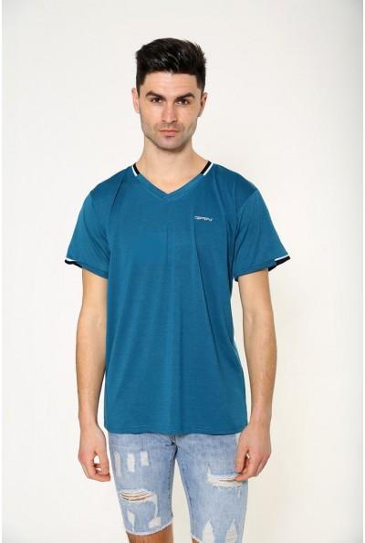 Однотонная мужская футболка изумрудная 119R033