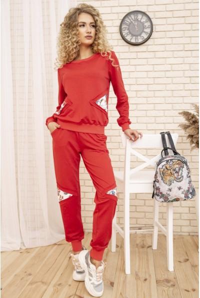 Женский повседневный костюм двунитка Свитшот и штаны цвет Коралловый 167R13-2