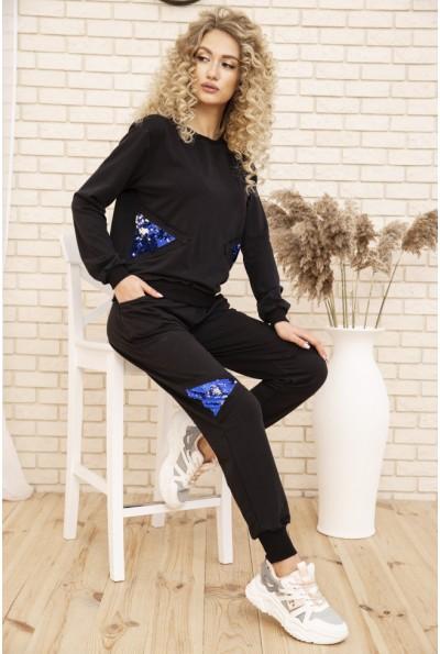 Женский повседневный костюм двунитка Свитшот и штаны цвет Черный 167R13-2 53340