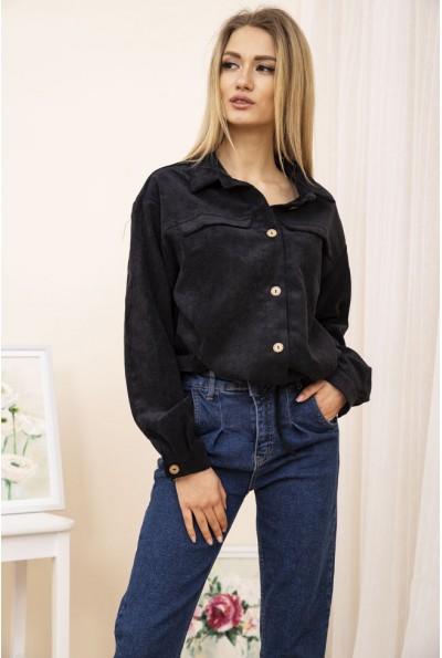 Женская укороченная куртка рубашка вельветовая Черная 15R384-1