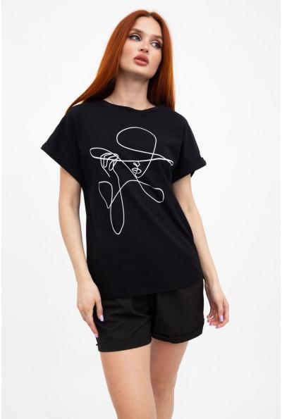 Черная длинная  футболка женская 102R046
