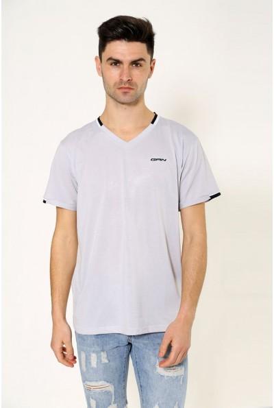 Однотонная мужская футболка светло-серая стальная 119R033