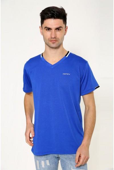 Однотонная мужская футболка яркая электрик 119R033