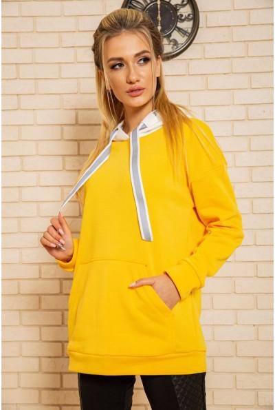 Худи женский на флисе 102R113 цвет Желтый 43079