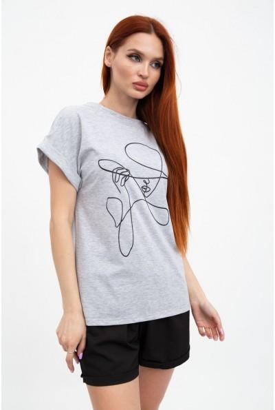 Серая удлиненная футболка женская 102R046