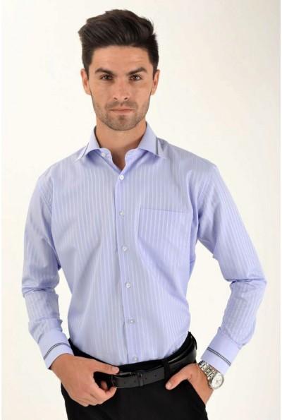 Рубашка мужская голубая офисный стиль 5-9060-17