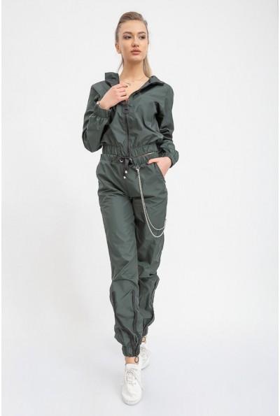 Зеленый спортивный костюм прогулочный из плащевки  женский 103R015