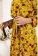 Платье женское с поясом с цветочным принтом цвет Горчичный 115R396-5 цена 879.0000 грн