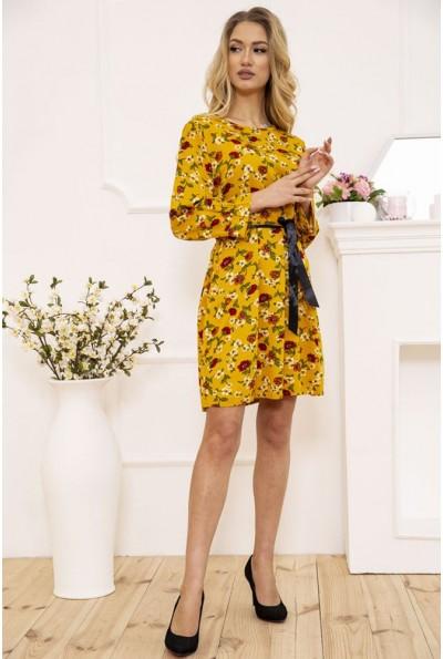 Платье женское с поясом с цветочным принтом цвет Горчичный 115R396-5