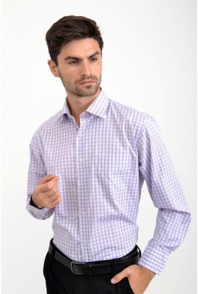 Рубашка мужская стильная, белая с сиреневым 18#LS