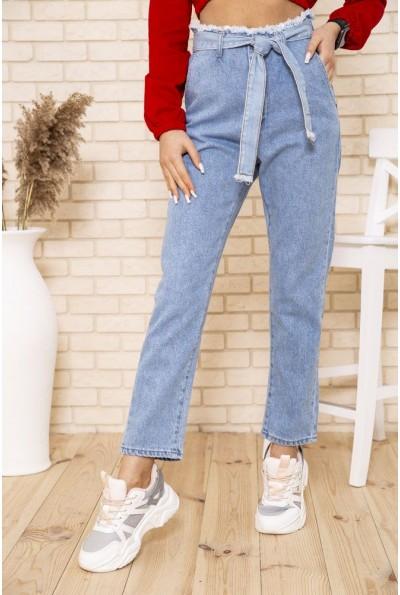 Женские голубые джинсы МОМ с поясом 164R1993