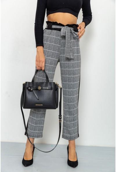 Женские укороченные брюки в клетку с лампасами цвет Серый 172R9314-1 56055