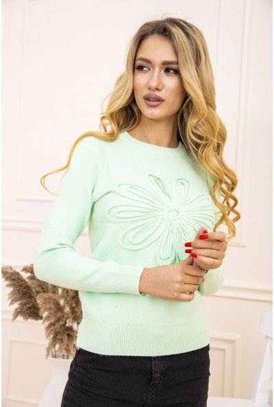 Свитер женский с цветком мятного цвета 167R7021 47053