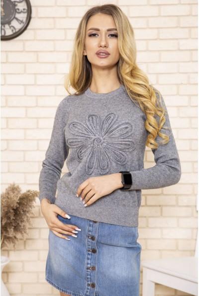 Серый свитер с цветком для нее 167R7021