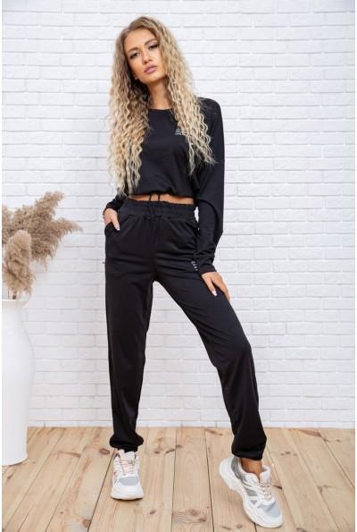 Повседневный женский костюм укороченный свитшот и джоггеры Черный 119R347 54754