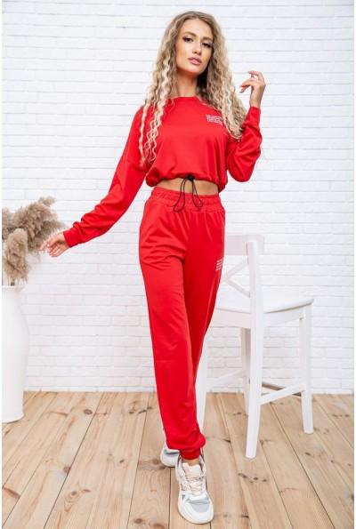 Повседневный женский костюм укороченный свитшот и джоггеры Красный 119R347 54748